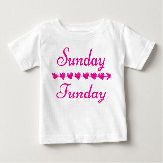 Sunday Funday Cute Funny Pink Heart Baby T-Shirt