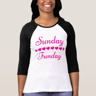 Sunday Funday Cute Funny Pink Heart Black T-Shirt