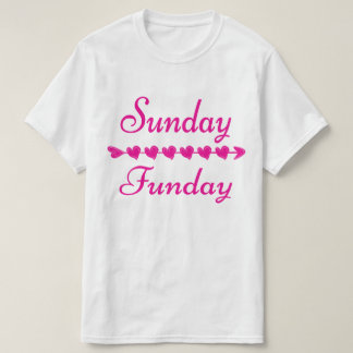 Sunday Funday Cute Funny Pink Heart Women's T-Shirt
