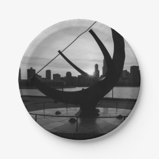 Sundial Sunset Grayscale Paper Plate
