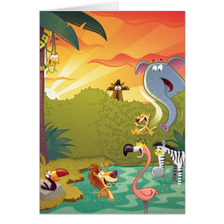 Sundown At The Water Hole Greeting Card