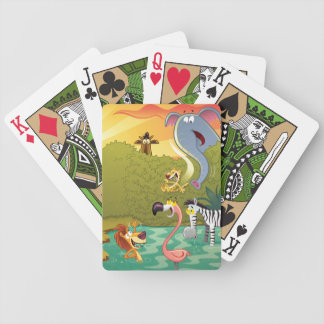Sundown At The Water Hole Bicycle Playing Cards