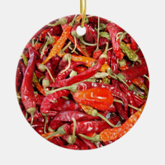 Sundried Chili Peppers Ceramic Ornament