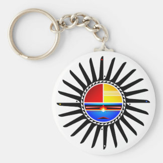 Sunface Basic Round Button Key Ring