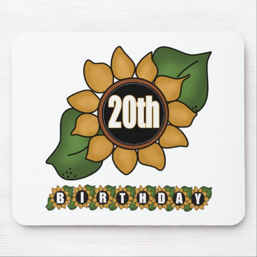 Sunflower 20th Birthday Gifts Mousepad