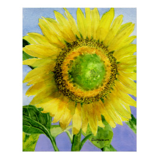 Sunflower 3 Watercolor Painting Art Poster Print