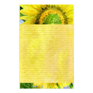 Sunflower 3 Watercolor Personalized Stationary Stationery