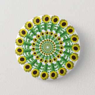 Sunflower 3D Circular Pattern 6 Cm Round Badge