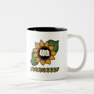 Sunflower 40th Birthday Gifts Two-Tone Mug