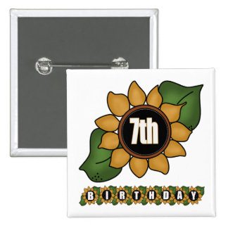 Sunflower 7th Birthday Gifts Pinback Buttons