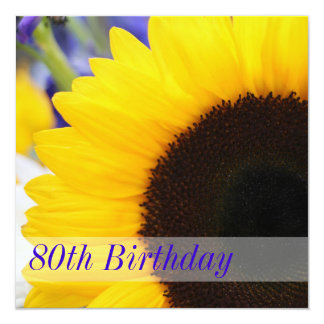 Sunflower 80th Birthday Party 13 Cm X 13 Cm Square Invitation Card