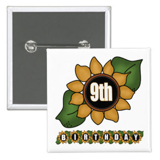 Sunflower 9th Birthday Gifts Buttons