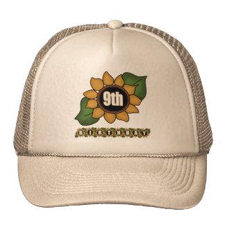 Sunflower 9th Birthday Gifts Trucker Hats