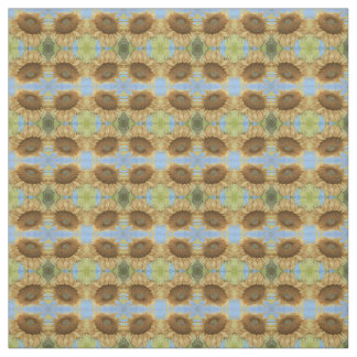 Sunflower against blue sky abstract pattern fabric