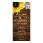 Sunflower and barn wood Wedding Program Custom Rack Cards