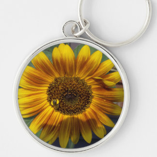 sunflower and bee Silver-Colored round key ring