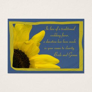 Sunflower and Blue Sky Wedding Charity Favor Card
