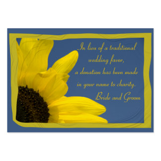 Sunflower and Blue Sky Wedding Charity Favor Card Pack Of Chubby Business Cards