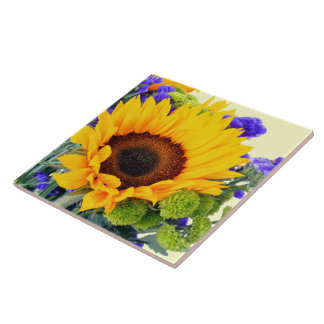 Sunflower and Blue Statice Tile