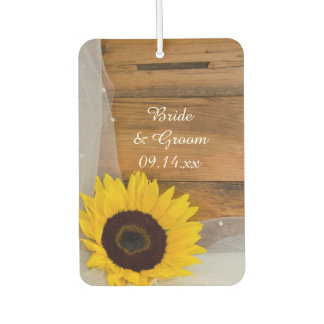 Sunflower and Bridal Veil Country Wedding Favor Car Air Freshener
