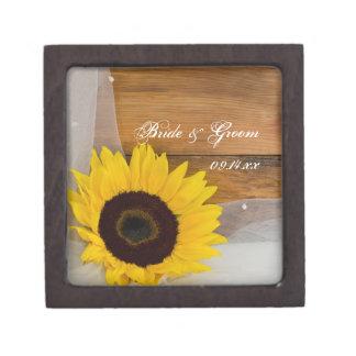 Sunflower and Bridal Veil Country Wedding Premium Jewelry Box