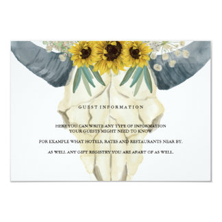 Sunflower and Bull Watercolor Guest Information 9 Cm X 13 Cm Invitation Card