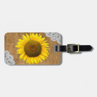 Sunflower and Burlap Texture Luggage Tag