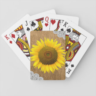 Sunflower and Burlap Texture Playing Cards