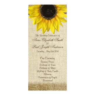 Sunflower and Burlap Wedding Program Custom Rack Card
