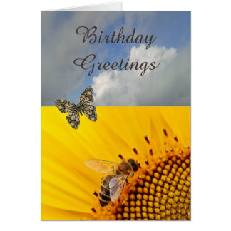 Sunflower And  Butterfly Birthday Card