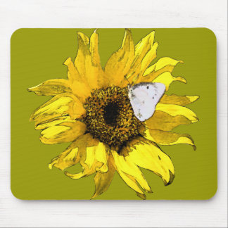 Sunflower and butterfly mousepad