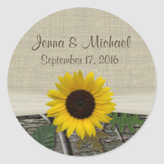 Sunflower and Camouflage Classic Round Sticker