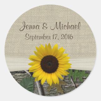 Sunflower and Camouflage Round Sticker