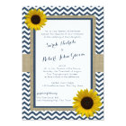 Sunflower and Chevron Navy Blue Rustic Wedding Card