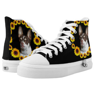 Sunflower and chihuahuas high top tennis shoes printed shoes