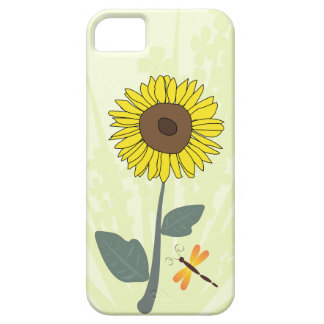 Sunflower and dragonfly with floral impressions case for the iPhone 5