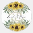 Sunflower and Green Wedding Sticker