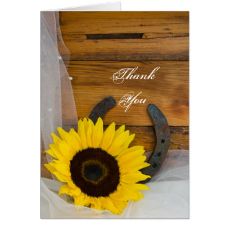 Sunflower and Horseshoe Country Thank You Note Card
