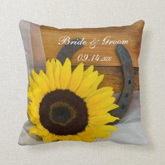 Sunflower and Horseshoe Country Western Wedding Cushion
