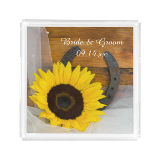 Sunflower and Horseshoe Western Wedding Acrylic Tray