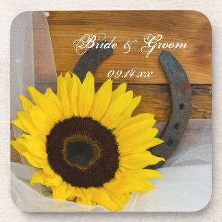 Sunflower and Horseshoe Western Wedding Coasters
