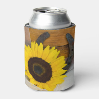 Sunflower and Horseshoe Western Wedding Favor Can Cooler