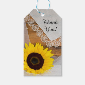 Sunflower and Lace Country Wedding Favor Tags
