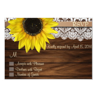 Sunflower and lace RSVP Cards 9 Cm X 13 Cm Invitation Card