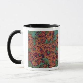 Sunflower and leaf camouflage pattern on mug