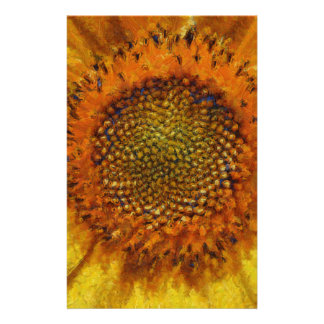 Sunflower and Seeds In Van Gogh Style Stationery Paper
