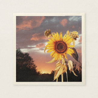 SUNFLOWER AND SUMMER SUNSET PAPER NAPKIN
