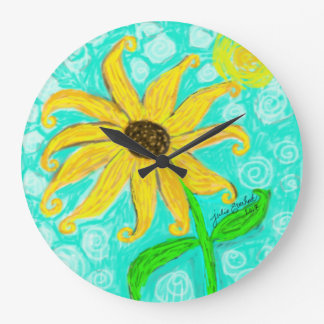 Sunflower and Sun Wall Clock by Julie Everhart