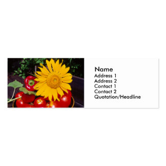 Sunflower and Vegetables - Tomatoes, Red Peppers Business Card Templates