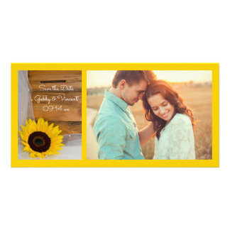 Sunflower and Veil Country Wedding Save the Date Card